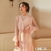 2020新款女裝超仙網紗法式復古裙兩件套山本針織洋裝女秋冬套裝雙十一特價
