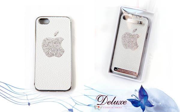 ☆Deluxe☆時尚新潮~水鑚蘋果造型皮革壓紋iphone5專用手機殼★白