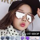 OT SHOP 兒童太陽眼鏡 墨鏡 時尚配件 多邊形 不規則鏡框設計款 反光/粉/紫/黑/全黑 現貨 K23