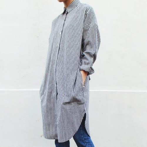 長袖襯衫 特殊袖口設計條紋長版襯衫 艾爾莎【TAE4547】