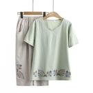 中年媽媽夏裝 兩件套減齡洋氣套裝純棉短袖T恤女棉麻上衣薄款大碼 設計師