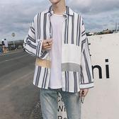 拼接條紋襯衣日繫bf風寬鬆襯衫男長袖韓版潮牌個性上衣服    琉璃美衣