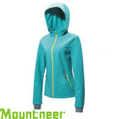【Mountneer 山林 女款 輕量三層SOFTSHELL外套《湖水綠》】22J12/防風外套/防潑水/透氣★滿額送