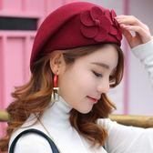 新款冬季女士帽子時尚潮貝雷帽秋冬韓版圓頂羊毛呢氈帽空姐小禮帽