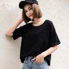 夏季新品寬鬆純色短袖T恤女學生黑色T恤短款上衣