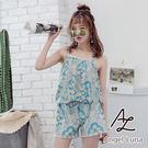 比基尼泳裝-日本品牌AngelLuna 現貨 綠圖騰連身褲一件式溫泉沙灘泳衣