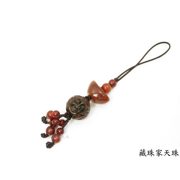 《藏珠家天珠》平安招財阿卡佛陀元寶天珠吊飾-掛飾-手機吊飾