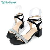 Bo Derek 一字交叉繞踝高跟涼鞋-黑色