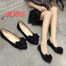 平底鞋女蝴蝶結尖頭黑色單鞋女平底平跟低跟工作瓢鞋淺口百搭 貝芙莉