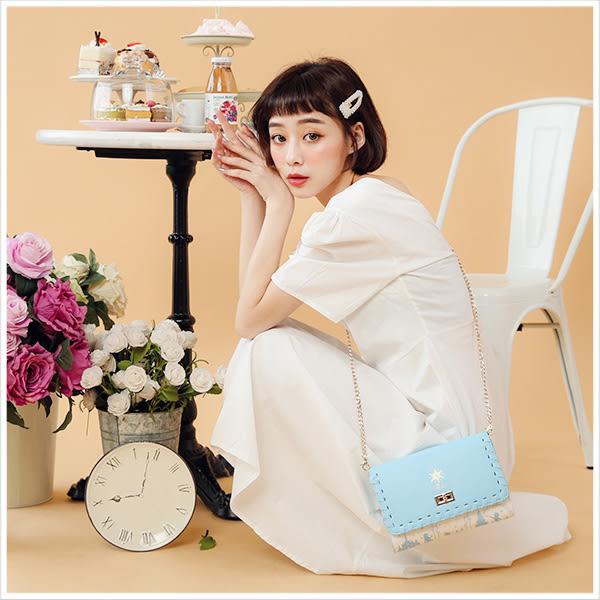 斜背包-迪士尼系列浪漫燙金公主款鍊條編織斜背方包-共7色-A17173056-天藍小舖