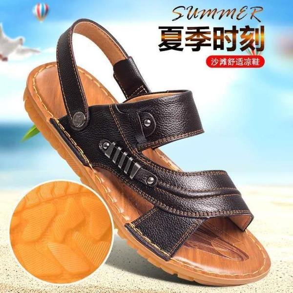 涼鞋 涼鞋 手工牛皮牛筋底男士皮涼鞋男防滑沙灘鞋男鞋男子拖鞋真牛皮涼鞋