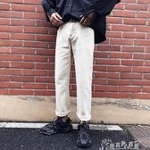 港風褲子韓版潮男士休閒褲寬管直筒九分寬鬆工裝褲男  奇思妙想屋