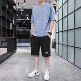 夏季冰絲薄款套裝 男士時尚帥氣純棉短袖搭配運動休閒兩件套男生短褲潮 JX2467『東京衣社』