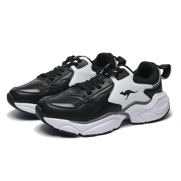 KANGAROOS 休閒鞋 SWING 黑白 皮革 厚底 復古 老爹鞋 男 (布魯克林) KM01079
