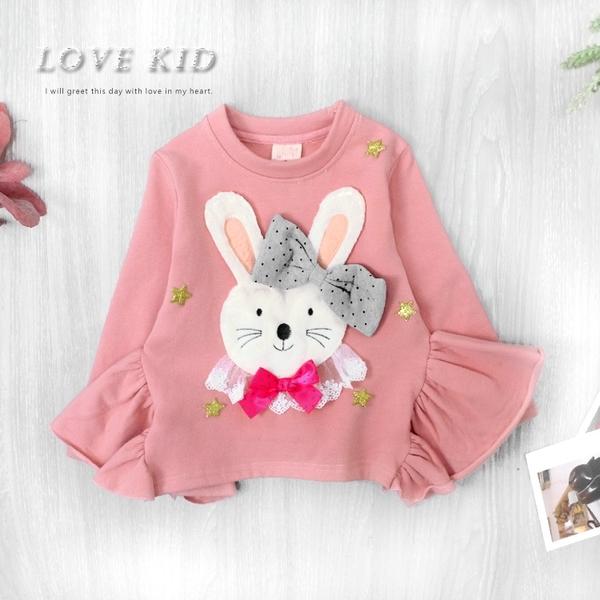 純棉 可愛小兔蝴蝶星星結閃亮金蔥兩側抓皺粉色上衣 內刷毛 女童上衣 厚 兒童長袖 冬童裝