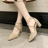 尖頭高跟鞋女春夏季2021新款百搭粗跟包頭綁帶一字式扣帶時裝涼鞋 韓國時尚週