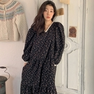 洋裝 韓系春夏法式復古撞色V領碎花泡泡袖...