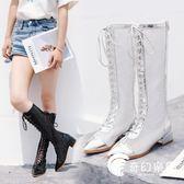 靴子女夏2018新款長筒女靴系帶韓版百搭長靴漆皮尖頭網紗靴涼靴潮-奇幻樂園