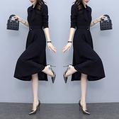 洋裝 中年媽媽裙子女裝氣質裙子秋裝修身顯瘦法國小眾復古中長連身裙N118韓衣裳
