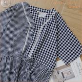 洋裝 蕾絲點綴不對稱格紋棉麻洋裝 單色-小C館日系