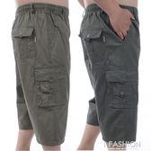 現貨出清  夏季中年男純棉七分褲中老年爸爸裝加肥加大高腰鬆緊腰多口袋短褲  8-3