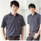 【大盤大】(P23671) 男 口袋 條紋POLO衫 短袖上衣 寬鬆休閒衫 百搭基本款 運動 父親節【剩M和L號】