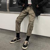 九分工裝褲男潮牌日系多口袋寬鬆直筒休閒褲ins超火的褲子  mandyc衣間