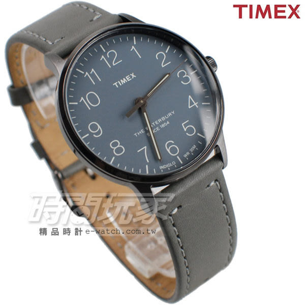 TIMEX 天美時 夜光顯示 簡約時刻 皮帶腕錶 灰色 男錶 TXT2P96000