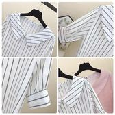 夏新寬鬆娃娃領小衫清新豎條紋襯衫短袖棉麻襯衣女學生上衣潮 好再來小屋