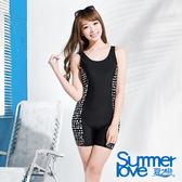 【夏之戀SUMMERLOVE】時尚淑女連身四角泳衣-加大碼(E15798)