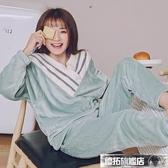 睡衣 睡衣女秋冬珊瑚絨可愛甜美加厚加絨法蘭絨冬季冬天家居服套裝綠色