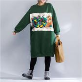 內刷毛小熊印花長版上衣-大尺碼 獨具衣格 J2427