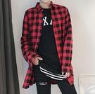 FINDSENSE品牌 時尚潮流 男 寬鬆 雙側拉鏈 紅黑格子 襯衫 長袖襯衫