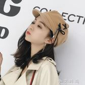 彎簷帽子 女韓版潮百搭日系八角帽英倫個性繫帶 小艾時尚