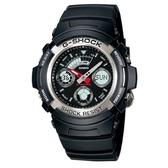 【CASIO】G-SHOCK 實用運動風雙顯指針錶-銀圈(AW-590-1A)