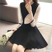 大碼女裝胖妹妹洋裝2020春秋新款中長款赫本小黑裙長袖拼接短裙 蘇菲小店