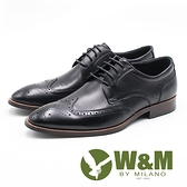 W&M  壓紋紳士綁帶男皮鞋-黑
