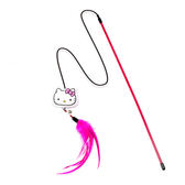 Hello Kitty 凱蒂貓 正版授權 可換式 羽毛鈴鐺 逗貓棒 粉《SV8892》HappyLife