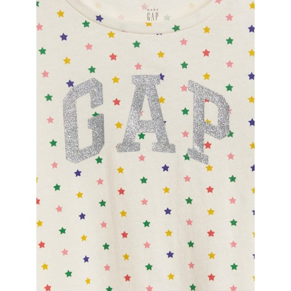 Gap女嬰幼童 Logo長袖圓領T恤 497451-奶白底彩色波點圖案