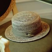 英倫平頂平沿草編帽子男女款春夏時尚百搭草帽出游休閒遮陽帽日系