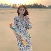 長袖洋裝-浪漫碎花雪紡大碼女連身裙74az37【巴黎精品】