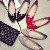 2018春季新款韓版紅色婚鞋尖頭平底女鞋子黑色平跟單鞋結婚皮鞋女·Ifashion