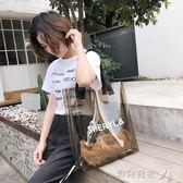 托特包透明包包女新款側背包超火包夏天果凍包手提包大托特包 貝兒鞋櫃