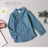文青藍色棉麻排釦襯衫長袖上衣 休閒 素面 男童襯衫 長袖襯衫 童 哎北比童裝