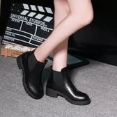 新款英倫復古皮鞋粗跟馬丁靴短筒女靴中跟棉靴子女鞋新款【一周年店慶限時85折】