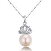 925純銀鑲珍珠項鍊-鑲鑽皇冠精美生日情人節禮物女墜飾73w58【巴黎精品】