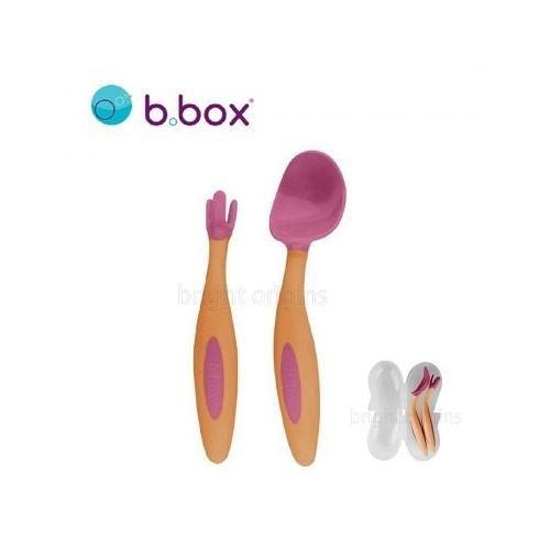 澳洲 b.box 專利湯匙叉子組(草莓粉)[衛立兒生活館]