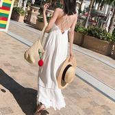吊帶連衣裙蕾絲長裙海邊度假沙灘裙子