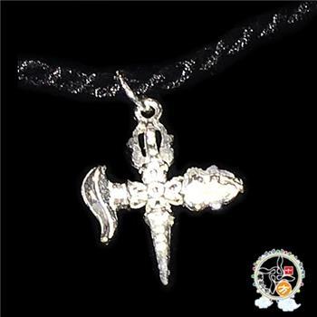 十字鉞刀降魔金剛橛2*1.6*0.5公分 925銀【 十方佛教文物】