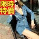 女款洋裝牛仔長袖-典型熱賣細緻單寧女裙子1色61v8【巴黎精品】